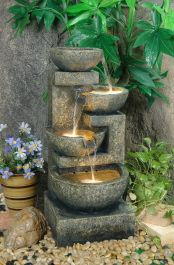Large Granite Effect Tiered Bowl Water Feature with Lights H108cm